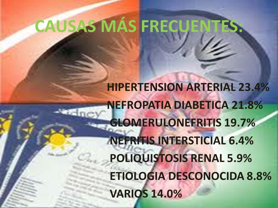 CAUSAS MÁS FRECUENTES: HIPERTENSION ARTERIAL 23.4% NEFROPATIA DIABETICA 21.8% GLOMERULONEFRITIS 19.7% NEFRITIS INTERSTICIAL 6.4% POLIQUISTOSIS RENAL 5