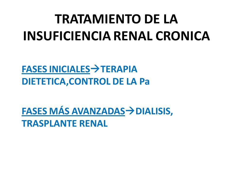 TRATAMIENTO DE LA INSUFICIENCIA RENAL CRONICA FASES INICIALES TERAPIA DIETETICA,CONTROL DE LA Pa FASES MÁS AVANZADAS DIALISIS, TRASPLANTE RENAL
