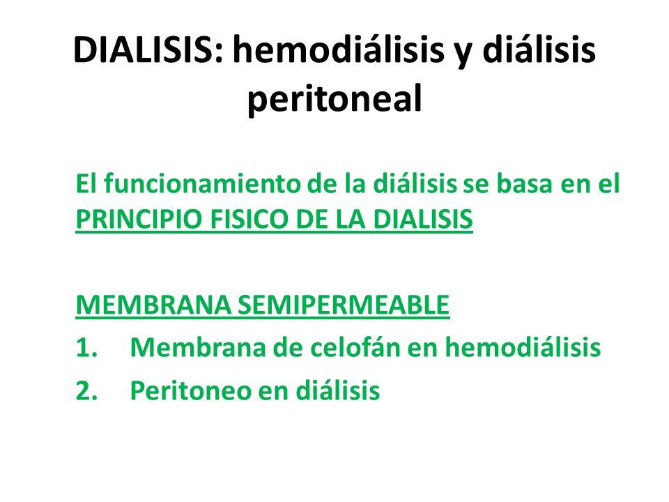 DIALISIS: hemodiálisis y diálisis peritoneal El funcionamiento de la diálisis se basa en el PRINCIPIO FISICO DE LA DIALISIS MEMBRANA SEMIPERMEABLE 1.Membrana de celofán en hemodiálisis 2.Peritoneo en diálisis