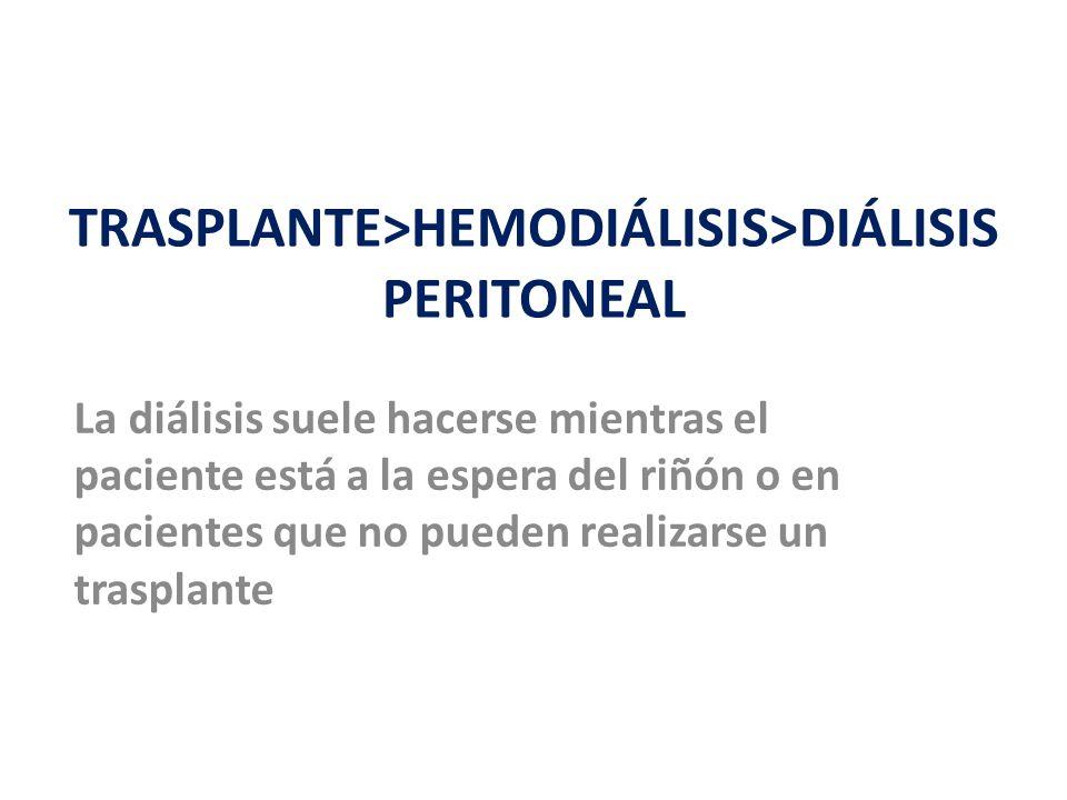 TRASPLANTE>HEMODIÁLISIS>DIÁLISIS PERITONEAL La diálisis suele hacerse mientras el paciente está a la espera del riñón o en pacientes que no pueden realizarse un trasplante