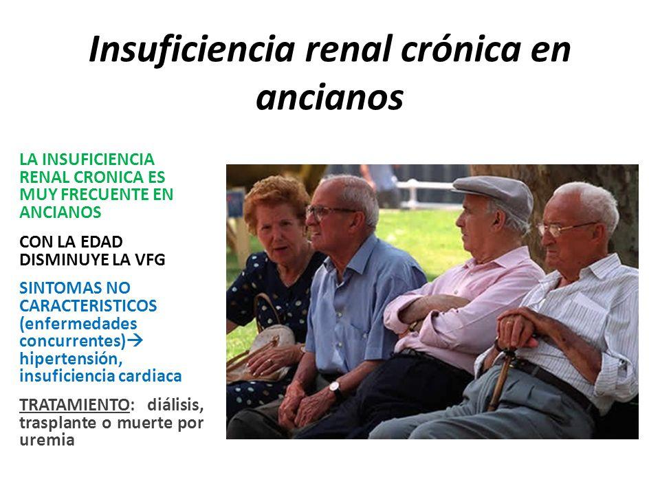 Insuficiencia renal crónica en ancianos LA INSUFICIENCIA RENAL CRONICA ES MUY FRECUENTE EN ANCIANOS CON LA EDAD DISMINUYE LA VFG SINTOMAS NO CARACTERISTICOS (enfermedades concurrentes) hipertensión, insuficiencia cardiaca TRATAMIENTO: diálisis, trasplante o muerte por uremia