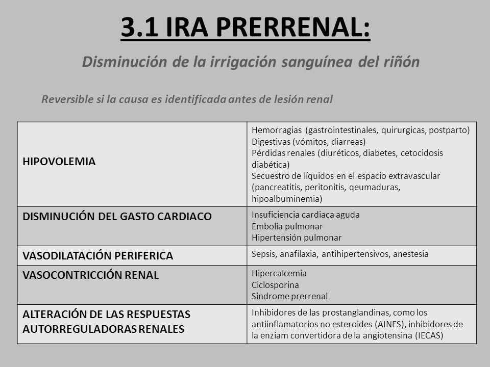 3.1 IRA PRERRENAL: Disminución de la irrigación sanguínea del riñón Reversible si la causa es identificada antes de lesión renal HIPOVOLEMIA Hemorragias (gastrointestinales, quirurgicas, postparto) Digestivas (vómitos, diarreas) Pérdidas renales (diuréticos, diabetes, cetocidosis diabética) Secuestro de líquidos en el espacio extravascular (pancreatitis, peritonitis, qeumaduras, hipoalbuminemia) DISMINUCIÓN DEL GASTO CARDIACO Insuficiencia cardiaca aguda Embolia pulmonar Hipertensión pulmonar VASODILATACIÓN PERIFERICA Sepsis, anafilaxia, antihipertensivos, anestesia VASOCONTRICCIÓN RENAL Hipercalcemia Ciclosporina Sindrome prerrenal ALTERACIÓN DE LAS RESPUESTAS AUTORREGULADORAS RENALES Inhibidores de las prostanglandinas, como los antiinflamatorios no esteroides (AINES), inhibidores de la enziam convertidora de la angiotensina (IECAS)