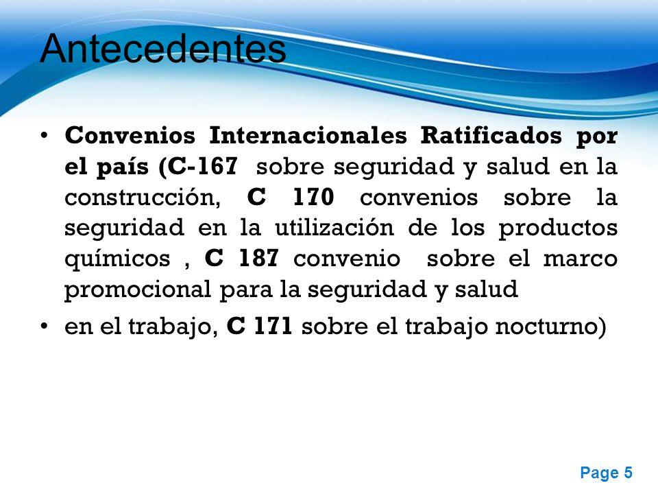 Free Powerpoint Templates Page 5 Antecedentes Convenios Internacionales Ratificados por el país (C-167 sobre seguridad y salud en la construcción, C 1