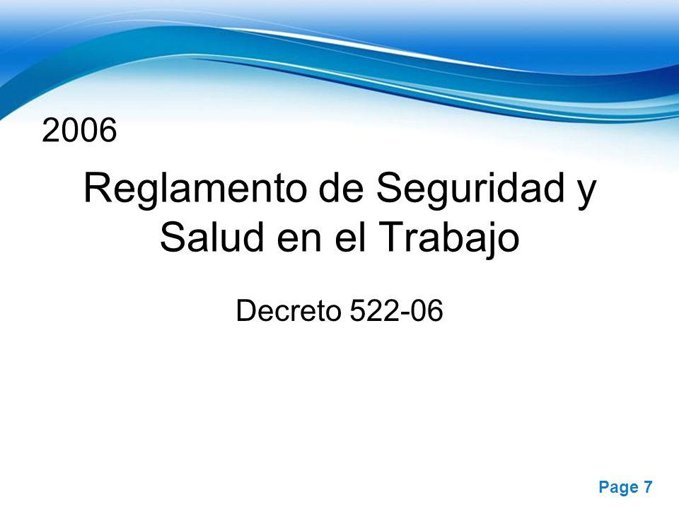 Free Powerpoint Templates Page 7 2006 Reglamento de Seguridad y Salud en el Trabajo Decreto 522-06