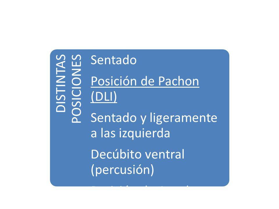 DISTINTAS POSICIONES Sentado Posición de Pachon (DLI) Sentado y ligeramente a las izquierda Decúbito ventral (percusión) Posición de Azoulay