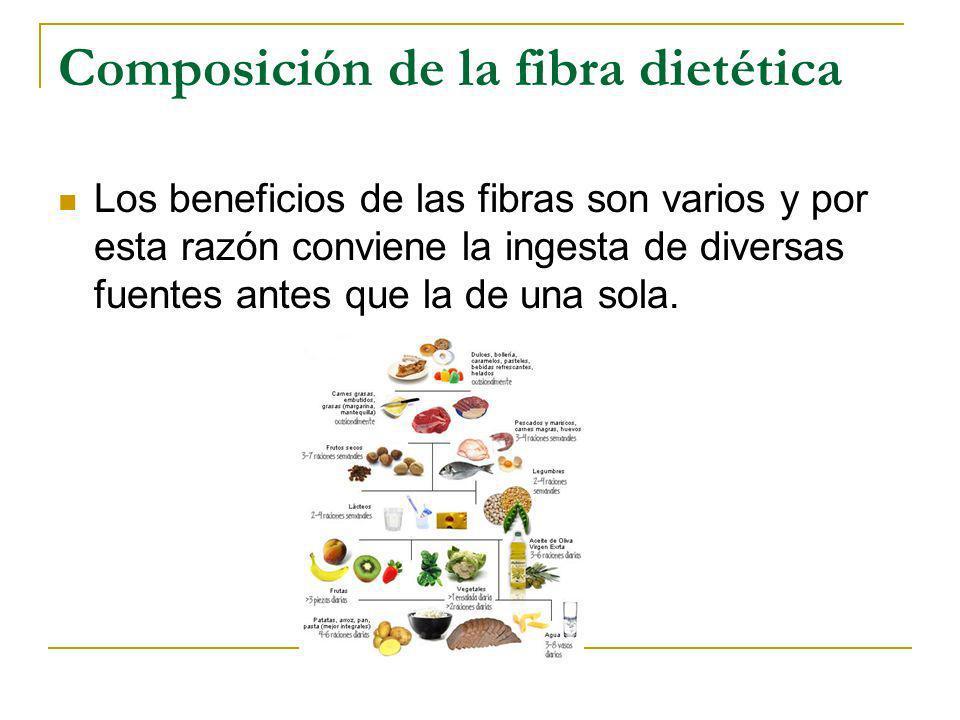 Composición de la fibra dietética Los beneficios de las fibras son varios y por esta razón conviene la ingesta de diversas fuentes antes que la de una