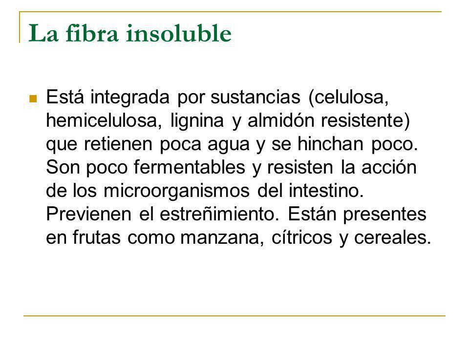 La fibra insoluble Está integrada por sustancias (celulosa, hemicelulosa, lignina y almidón resistente) que retienen poca agua y se hinchan poco. Son