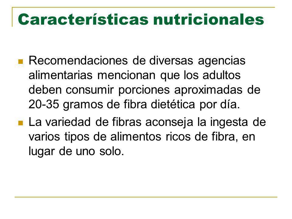 Características nutricionales Recomendaciones de diversas agencias alimentarias mencionan que los adultos deben consumir porciones aproximadas de 20-3