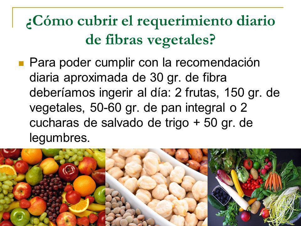 ¿Cómo cubrir el requerimiento diario de fibras vegetales? Para poder cumplir con la recomendación diaria aproximada de 30 gr. de fibra deberíamos inge