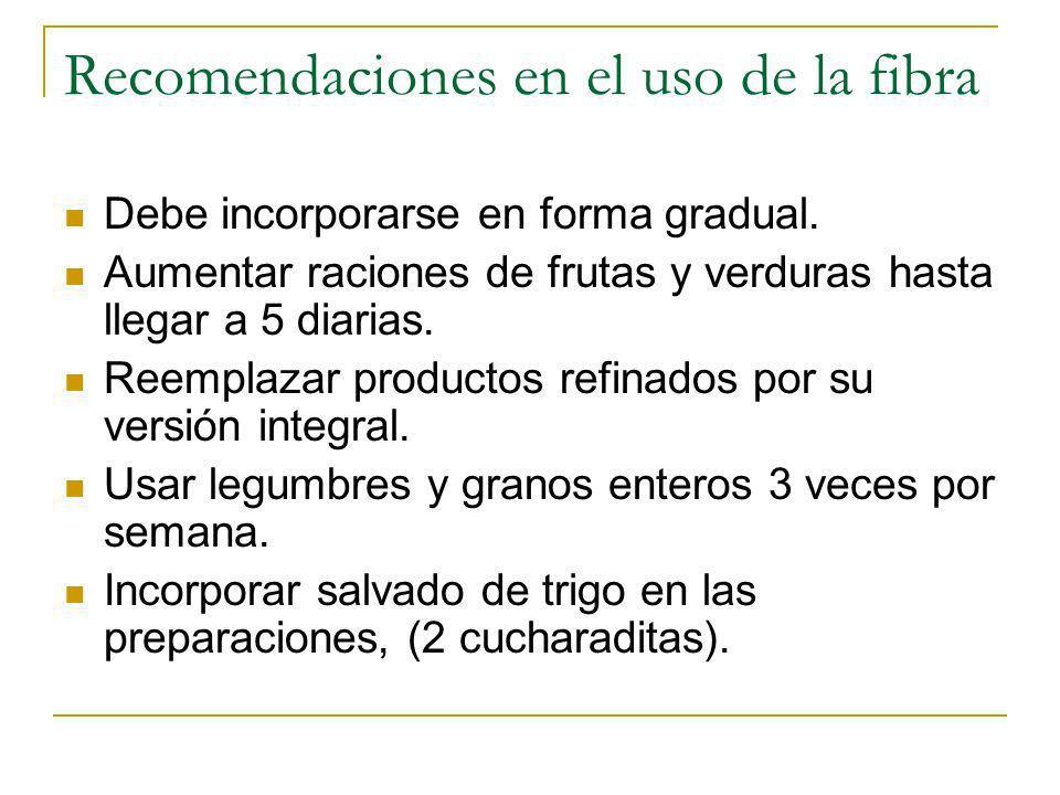 Recomendaciones en el uso de la fibra Debe incorporarse en forma gradual. Aumentar raciones de frutas y verduras hasta llegar a 5 diarias. Reemplazar