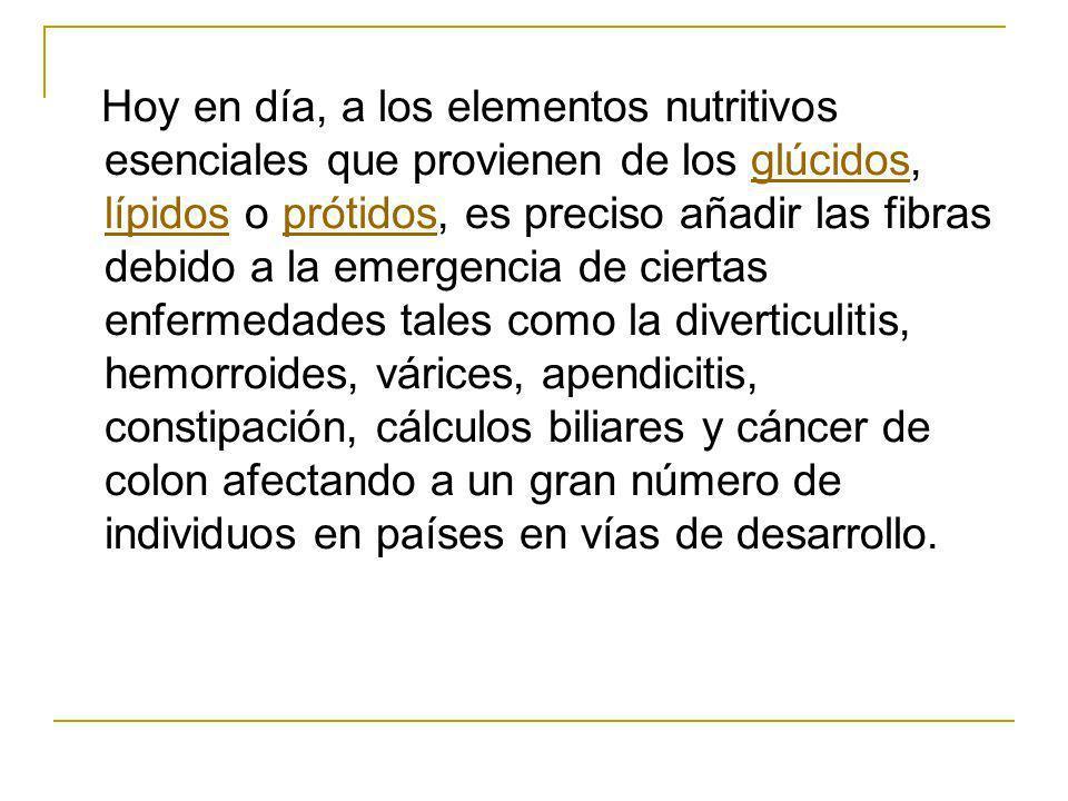 Hoy en día, a los elementos nutritivos esenciales que provienen de los glúcidos, lípidos o prótidos, es preciso añadir las fibras debido a la emergenc