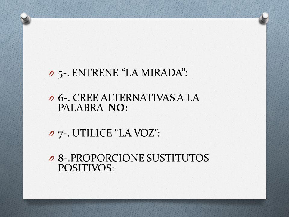 O 5-. ENTRENE LA MIRADA: O 6-. CREE ALTERNATIVAS A LA PALABRA NO: O 7-. UTILICE LA VOZ: O 8-.PROPORCIONE SUSTITUTOS POSITIVOS: