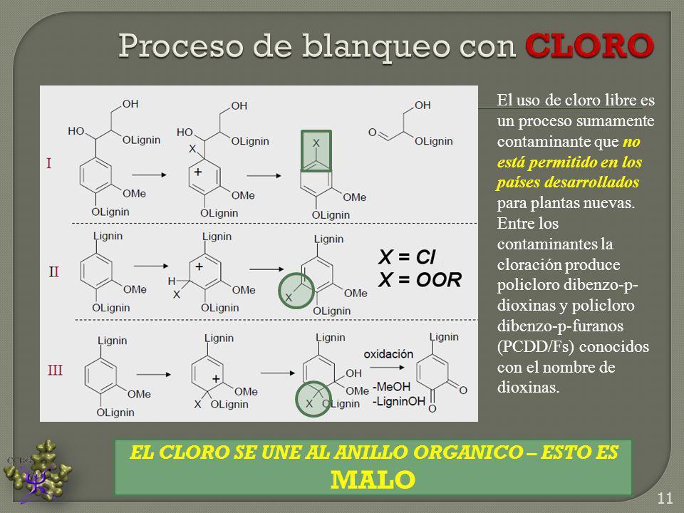 El uso de cloro libre es un proceso sumamente contaminante que no está permitido en los países desarrollados para plantas nuevas. Entre los contaminan