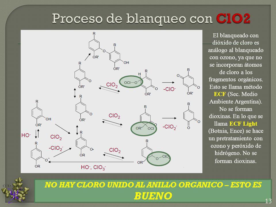 El blanqueado con dióxido de cloro es análogo al blanqueado con ozono, ya que no se incorporan átomos de cloro a los fragmentos orgánicos. Esto se lla