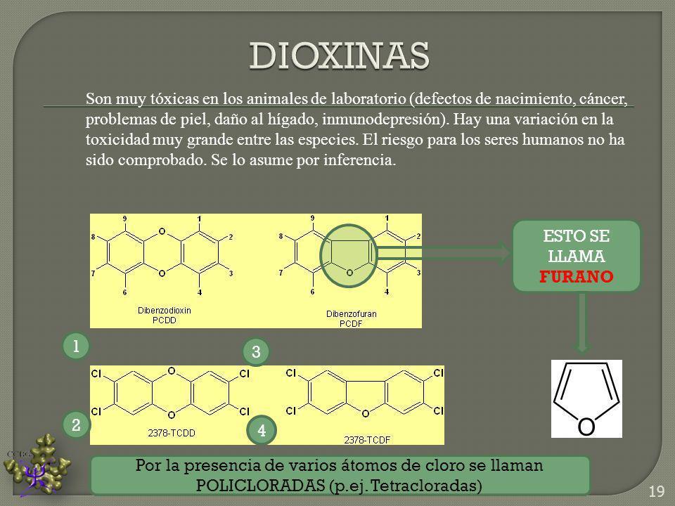 Son muy tóxicas en los animales de laboratorio (defectos de nacimiento, cáncer, problemas de piel, daño al hígado, inmunodepresión). Hay una variación