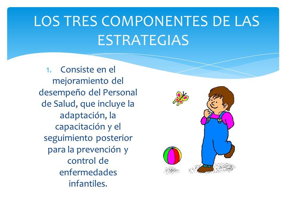 LOS TRES COMPONENTES DE LAS ESTRATEGIAS 1.Consiste en el mejoramiento del desempeño del Personal de Salud, que incluye la adaptación, la capacitación
