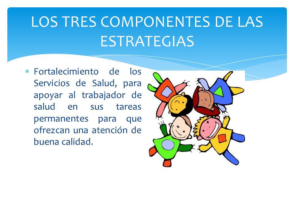 LOS TRES COMPONENTES DE LAS ESTRATEGIAS Fortalecimiento de los Servicios de Salud, para apoyar al trabajador de salud en sus tareas permanentes para q