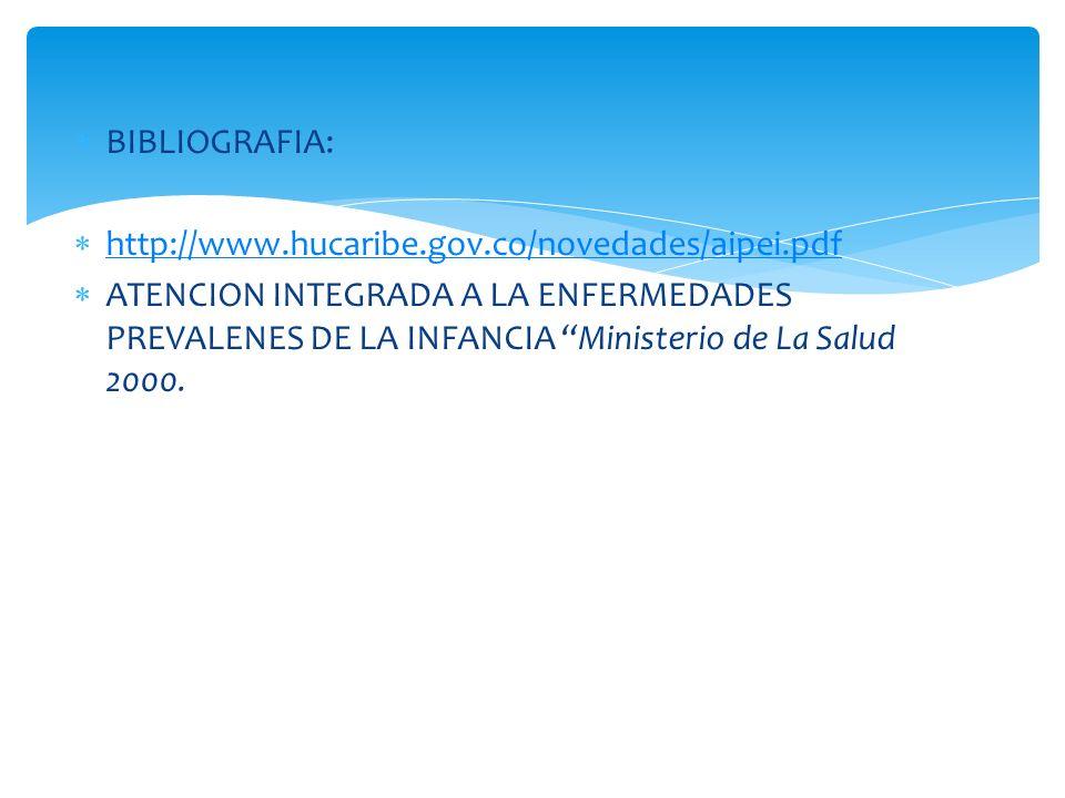 BIBLIOGRAFIA: http://www.hucaribe.gov.co/novedades/aipei.pdf ATENCION INTEGRADA A LA ENFERMEDADES PREVALENES DE LA INFANCIA Ministerio de La Salud 200