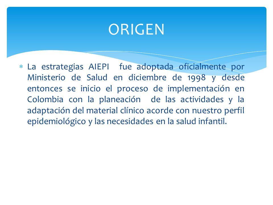 La estrategias AIEPI fue adoptada oficialmente por Ministerio de Salud en diciembre de 1998 y desde entonces se inicio el proceso de implementación en