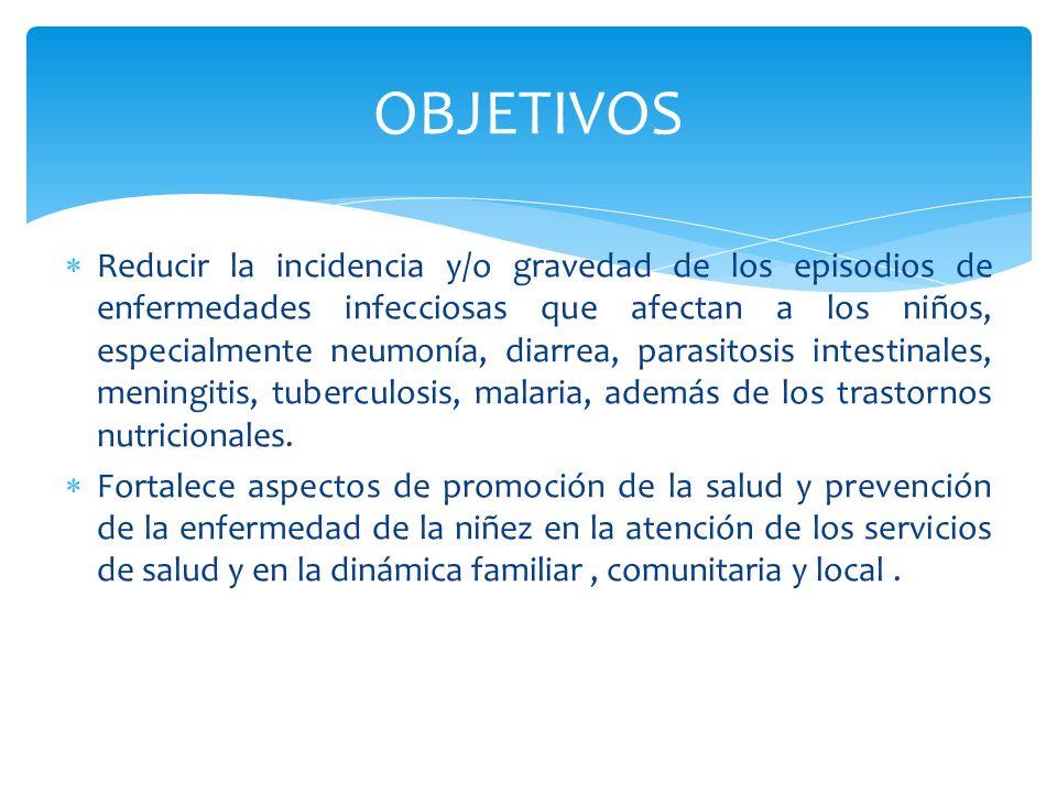 Reducir la incidencia y/o gravedad de los episodios de enfermedades infecciosas que afectan a los niños, especialmente neumonía, diarrea, parasitosis