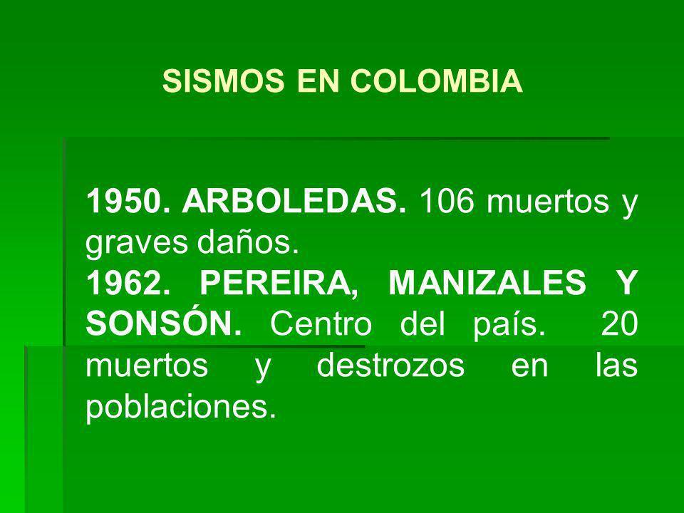 1950. ARBOLEDAS. 106 muertos y graves daños. 1962. PEREIRA, MANIZALES Y SONSÓN. Centro del país. 20 muertos y destrozos en las poblaciones. SISMOS EN