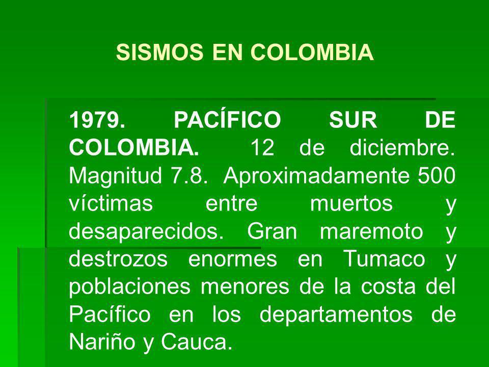 1979. PACÍFICO SUR DE COLOMBIA. 12 de diciembre. Magnitud 7.8. Aproximadamente 500 víctimas entre muertos y desaparecidos. Gran maremoto y destrozos e