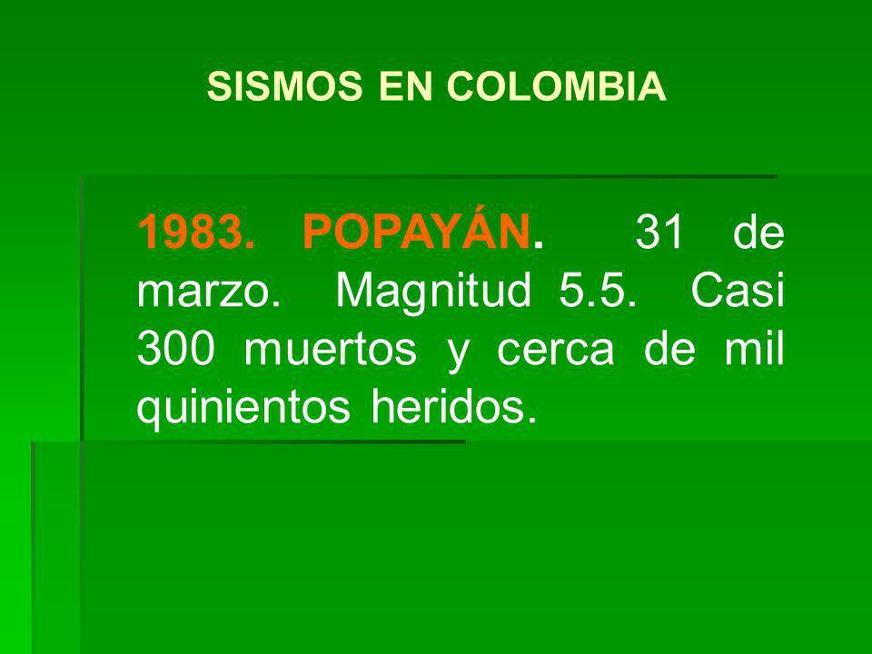 1983. POPAYÁN. 31 de marzo. Magnitud 5.5. Casi 300 muertos y cerca de mil quinientos heridos. SISMOS EN COLOMBIA