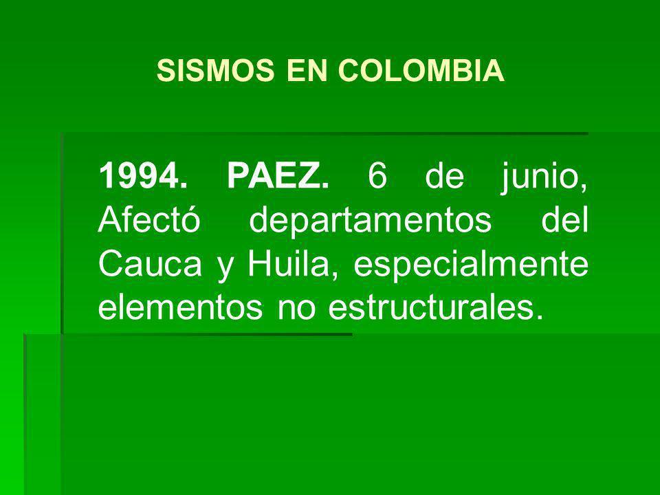 1994. PAEZ. 6 de junio, Afectó departamentos del Cauca y Huila, especialmente elementos no estructurales. SISMOS EN COLOMBIA