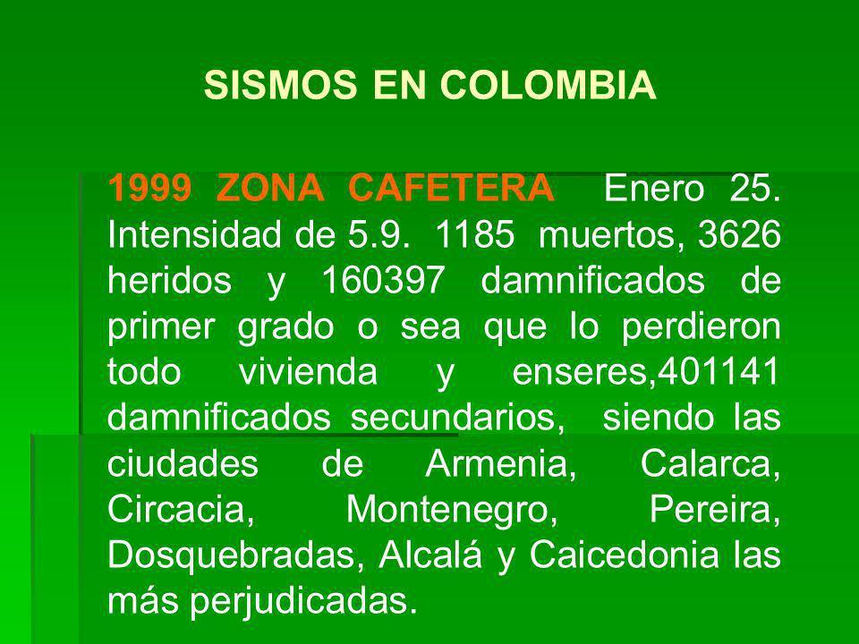 1999 ZONA CAFETERA Enero 25. Intensidad de 5.9. 1185 muertos, 3626 heridos y 160397 damnificados de primer grado o sea que lo perdieron todo vivienda