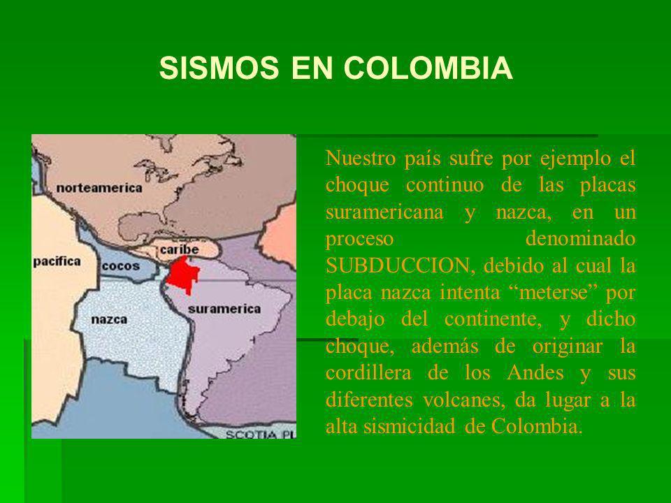 Nuestro país sufre por ejemplo el choque continuo de las placas suramericana y nazca, en un proceso denominado SUBDUCCION, debido al cual la placa naz