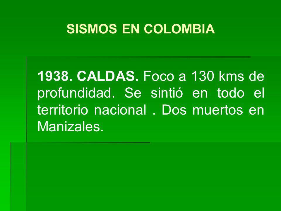 1938. CALDAS. Foco a 130 kms de profundidad. Se sintió en todo el territorio nacional. Dos muertos en Manizales. SISMOS EN COLOMBIA