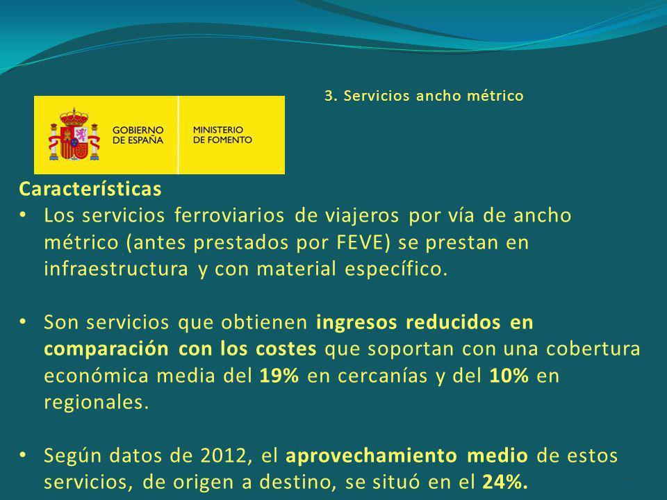 Características Los servicios ferroviarios de viajeros por vía de ancho métrico (antes prestados por FEVE) se prestan en infraestructura y con material específico.