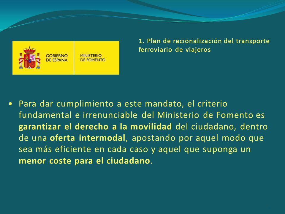 Para dar cumplimiento a este mandato, el criterio fundamental e irrenunciable del Ministerio de Fomento es garantizar el derecho a la movilidad del ciudadano, dentro de una oferta intermodal, apostando por aquel modo que sea más eficiente en cada caso y aquel que suponga un menor coste para el ciudadano.
