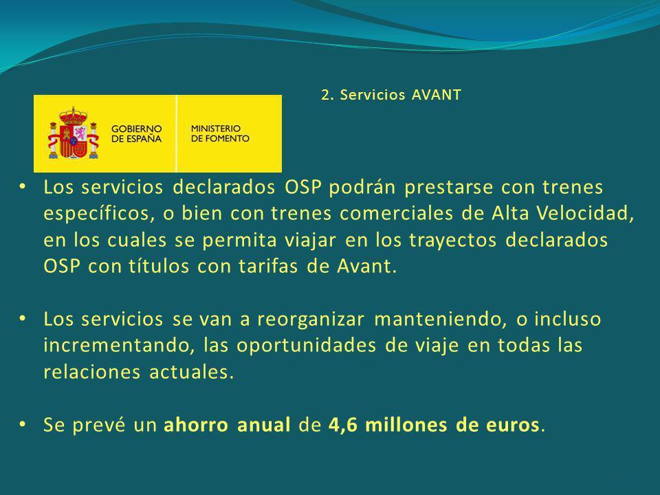 Los servicios declarados OSP podrán prestarse con trenes específicos, o bien con trenes comerciales de Alta Velocidad, en los cuales se permita viajar en los trayectos declarados OSP con títulos con tarifas de Avant.