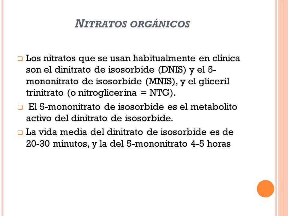 N ITRATOS ORGÁNICOS Los nitratos que se usan habitualmente en clínica son el dinitrato de isosorbide (DNIS) y el 5- mononitrato de isosorbide (MNIS),