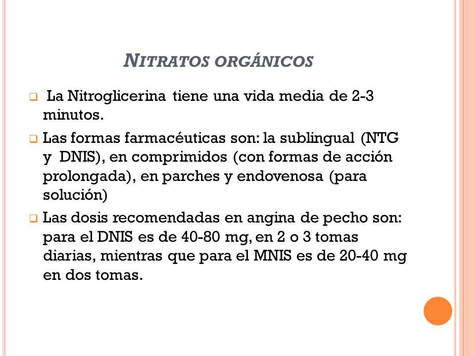 N ITRATOS ORGÁNICOS La Nitroglicerina tiene una vida media de 2-3 minutos. Las formas farmacéuticas son: la sublingual (NTG y DNIS), en comprimidos (c