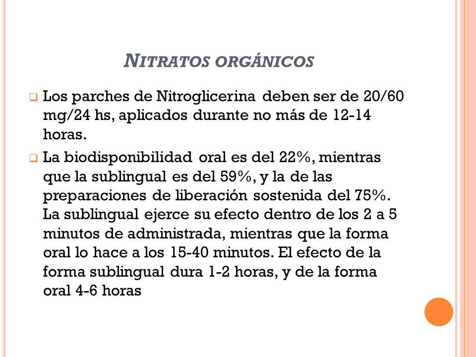 N ITRATOS ORGÁNICOS Los parches de Nitroglicerina deben ser de 20/60 mg/24 hs, aplicados durante no más de 12-14 horas. La biodisponibilidad oral es d