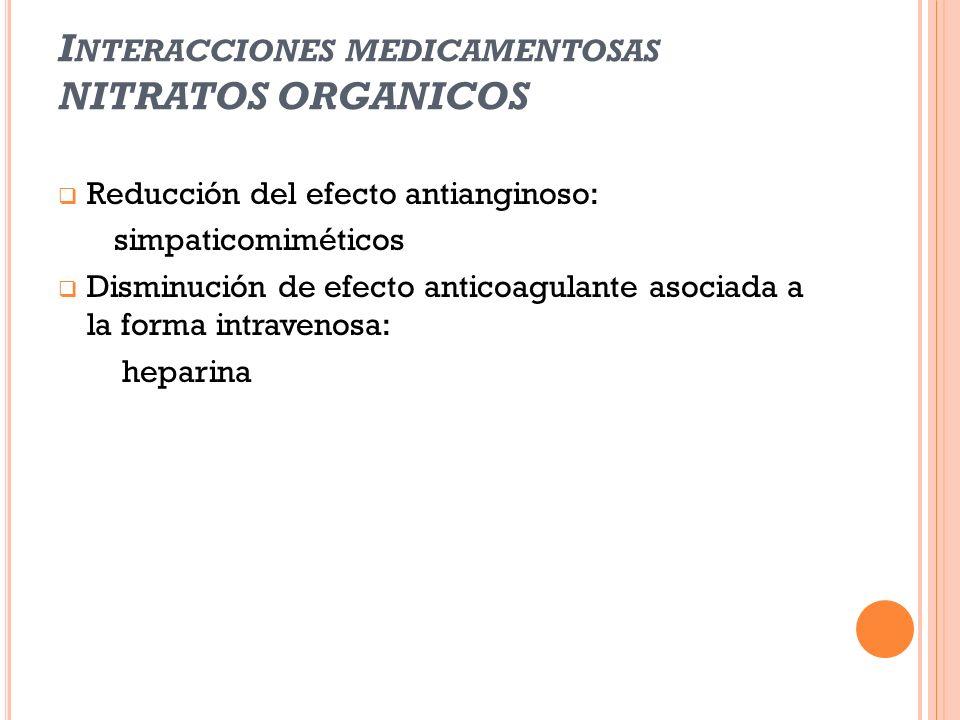 I NTERACCIONES MEDICAMENTOSAS NITRATOS ORGANICOS Reducción del efecto antianginoso: simpaticomiméticos Disminución de efecto anticoagulante asociada a