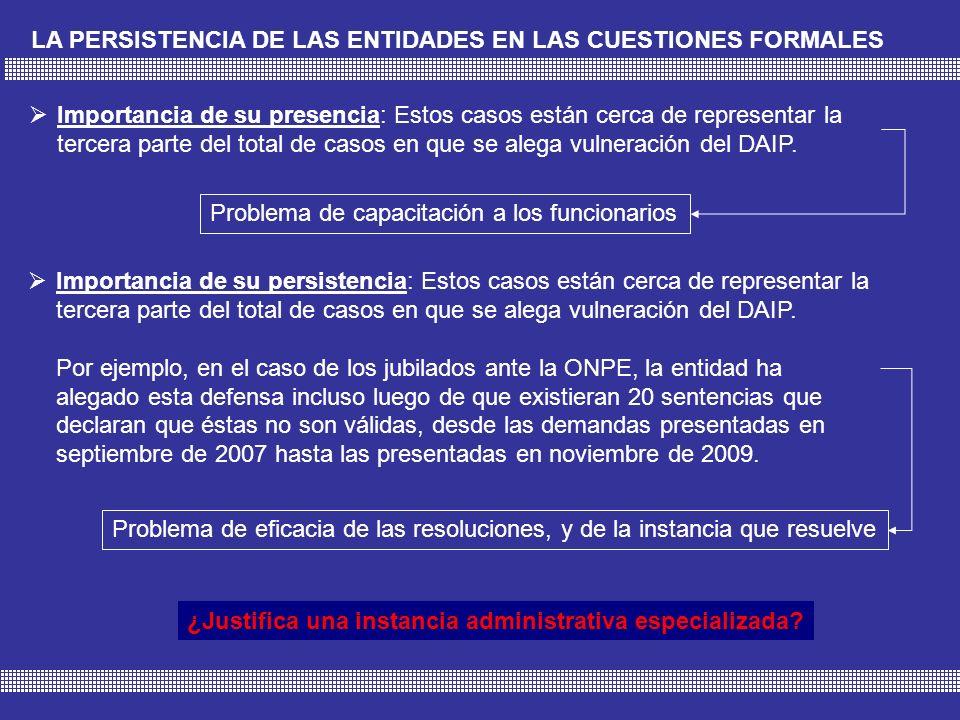 LA PERSISTENCIA DE LAS ENTIDADES EN LAS CUESTIONES FORMALES Importancia de su presencia: Estos casos están cerca de representar la tercera parte del total de casos en que se alega vulneración del DAIP.