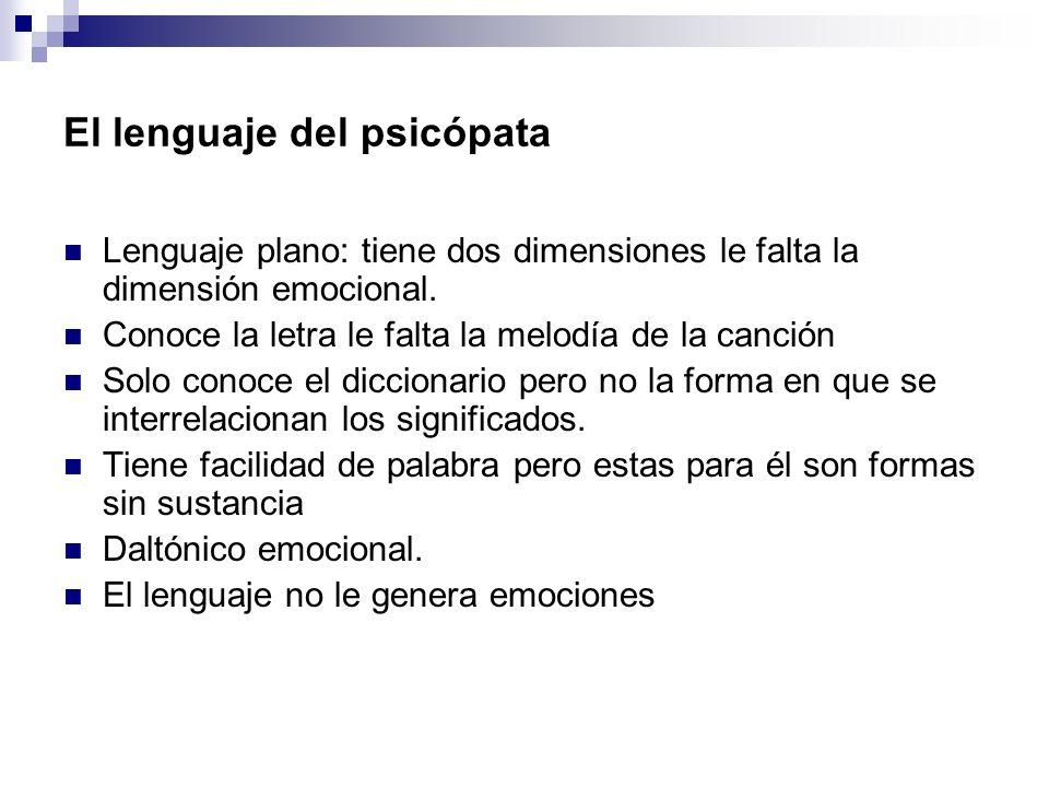 El lenguaje del psicópata Lenguaje plano: tiene dos dimensiones le falta la dimensión emocional. Conoce la letra le falta la melodía de la canción Sol