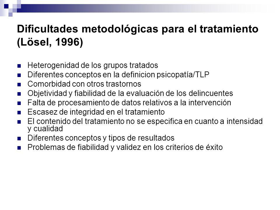 Dificultades metodológicas para el tratamiento (Lösel, 1996) Heterogenidad de los grupos tratados Diferentes conceptos en la definicion psicopatía/TLP