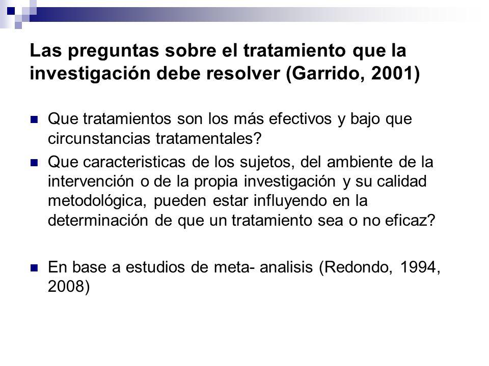 Las preguntas sobre el tratamiento que la investigación debe resolver (Garrido, 2001) Que tratamientos son los más efectivos y bajo que circunstancias