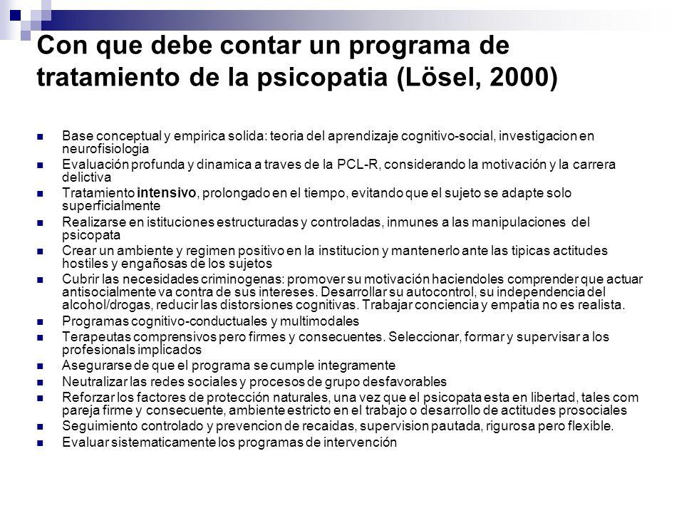 Con que debe contar un programa de tratamiento de la psicopatia (Lösel, 2000) Base conceptual y empirica solida: teoria del aprendizaje cognitivo-soci