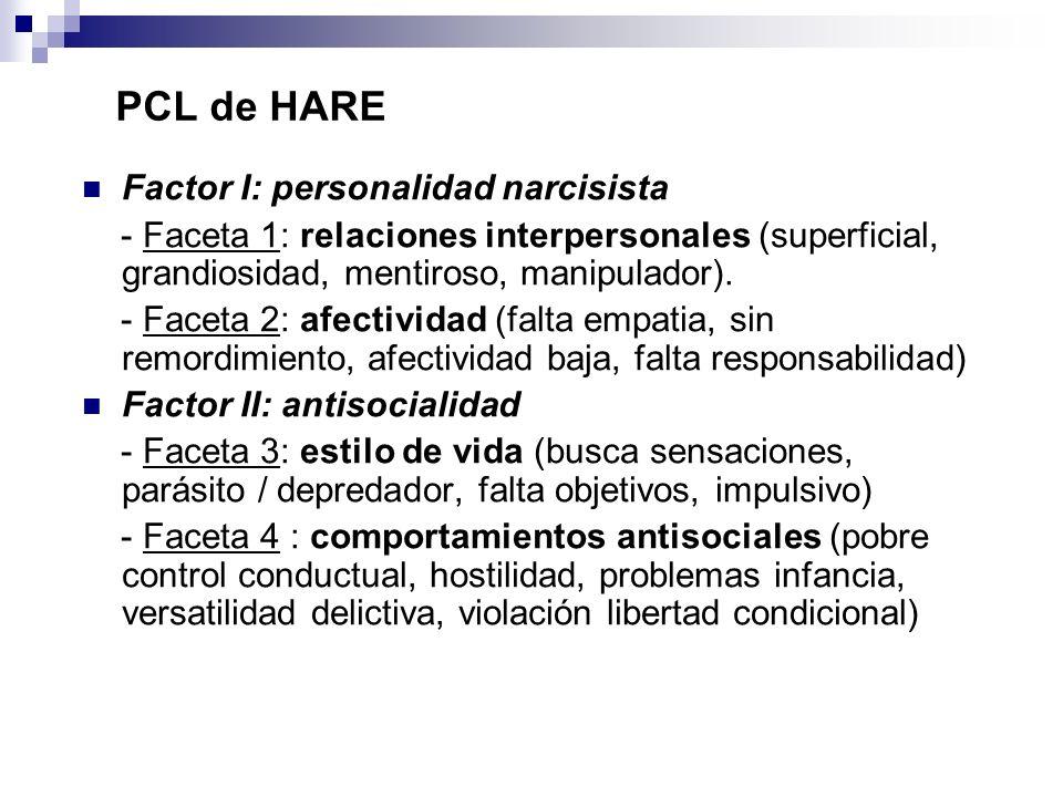 PCL de HARE Factor I: personalidad narcisista - Faceta 1: relaciones interpersonales (superficial, grandiosidad, mentiroso, manipulador). - Faceta 2:
