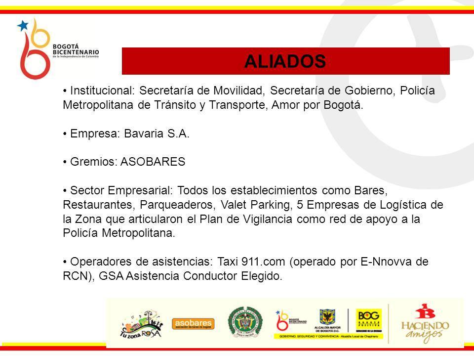 Institucional: Secretaría de Movilidad, Secretaría de Gobierno, Policía Metropolitana de Tránsito y Transporte, Amor por Bogotá. Empresa: Bavaria S.A.