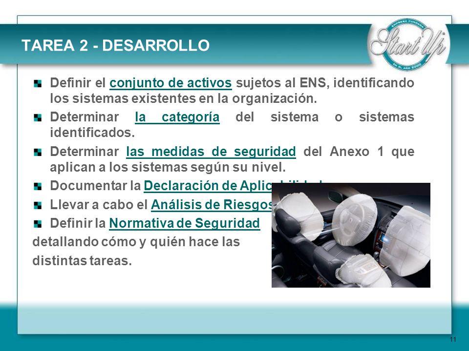 11 TAREA 2 - DESARROLLO Definir el conjunto de activos sujetos al ENS, identificando los sistemas existentes en la organización.