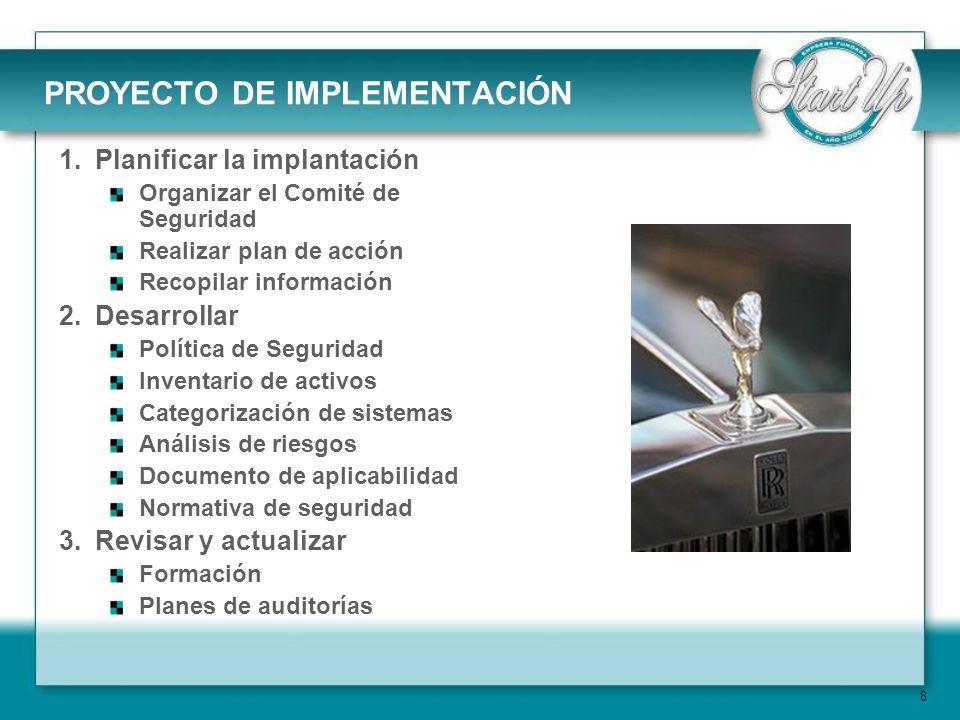 19 IMPLEMENTACIÓN Elaboración del marco organizativo de la seguridad: Documentos de procedimientos de seguridad.