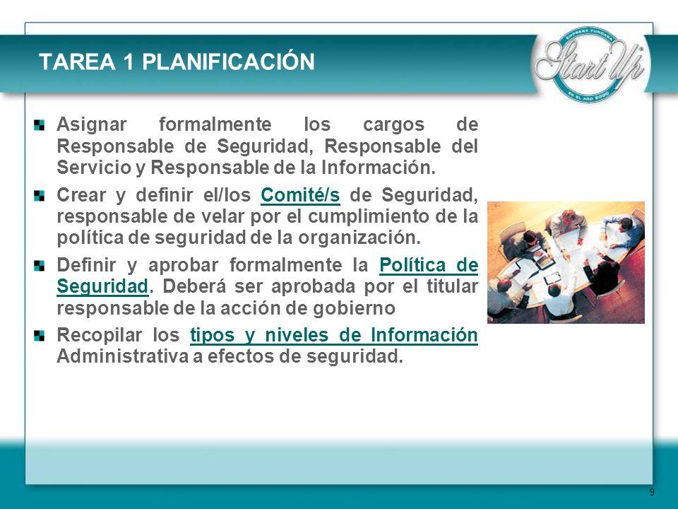 9 TAREA 1 PLANIFICACIÓN Asignar formalmente los cargos de Responsable de Seguridad, Responsable del Servicio y Responsable de la Información.