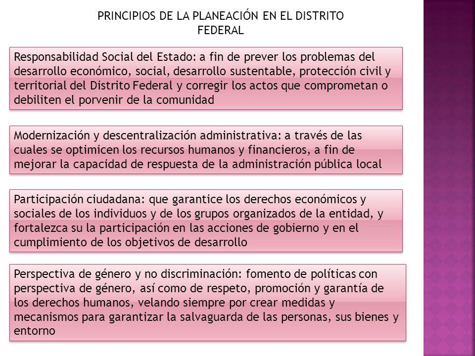 PRINCIPIOS DE LA PLANEACIÓN EN EL DISTRITO FEDERAL Responsabilidad Social del Estado: a fin de prever los problemas del desarrollo económico, social,