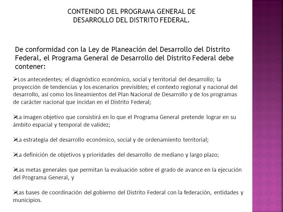CONTENIDO DEL PROGRAMA GENERAL DE DESARROLLO DEL DISTRITO FEDERAL. De conformidad con la Ley de Planeación del Desarrollo del Distrito Federal, el Pro
